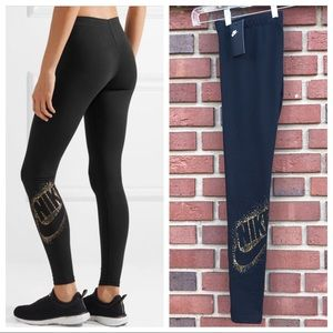 Nike Metallic Print Stretch Cotton Blend Leggings
